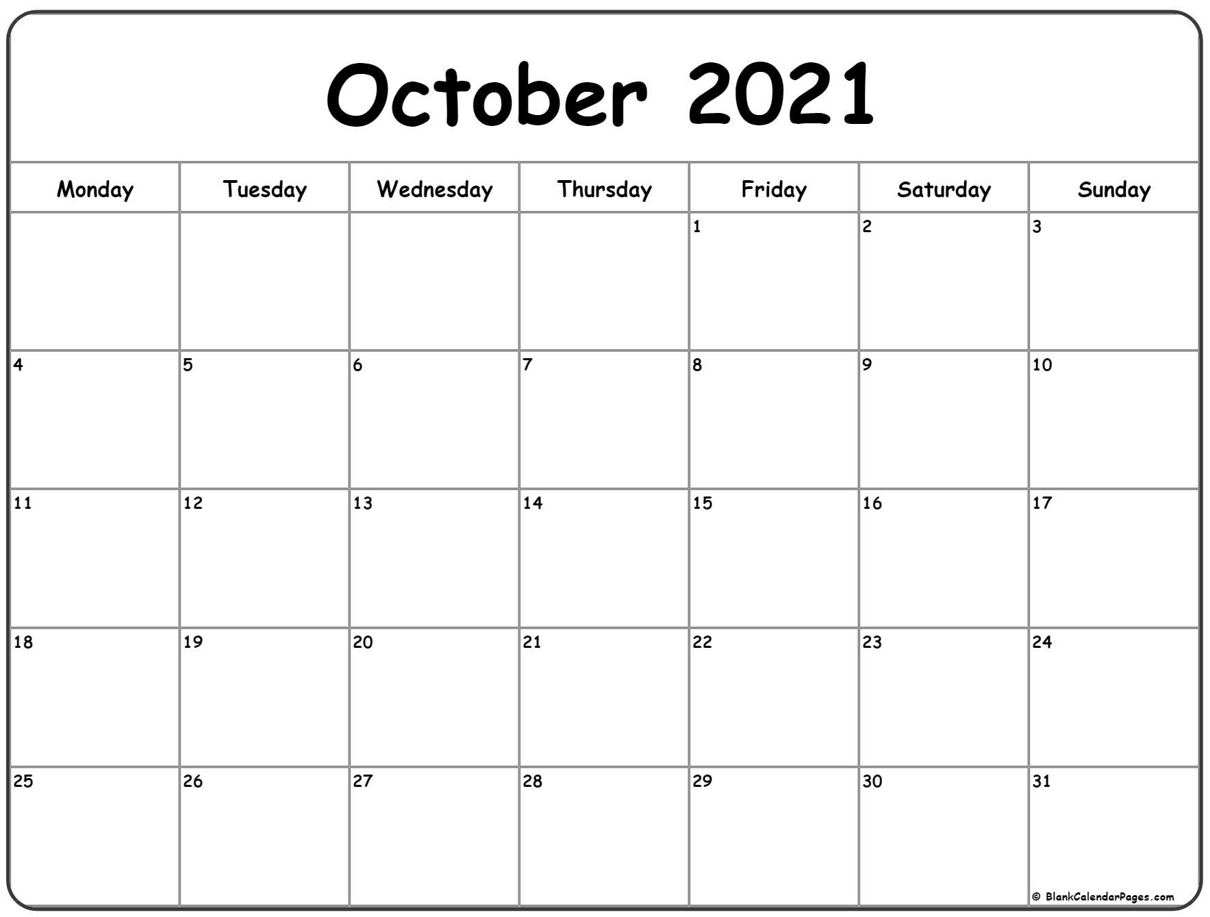 October 2021 Monday Calendar   Monday To Sunday