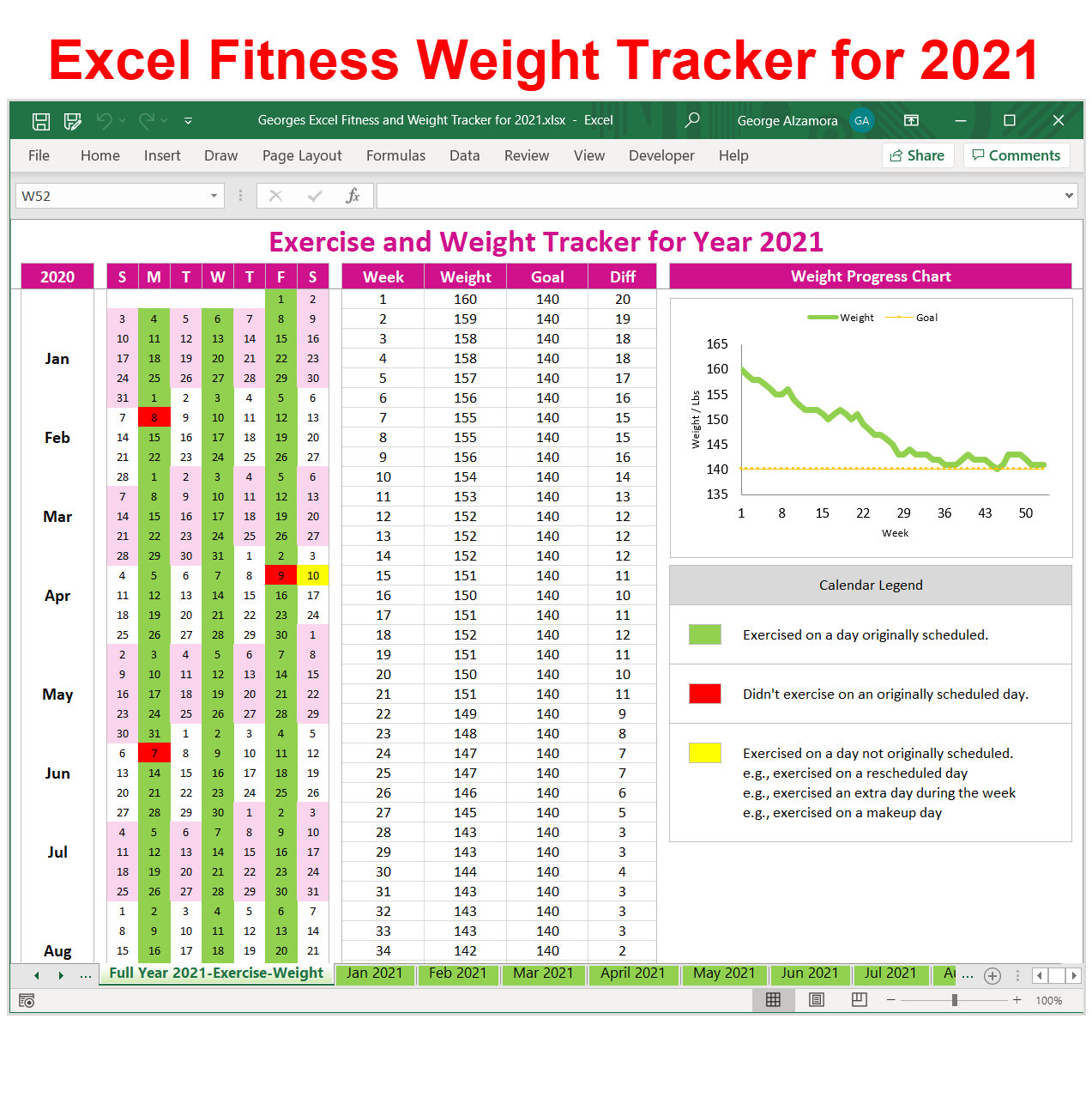 Pin On 2021 Fitness Planner & Weight Tracker In Excel