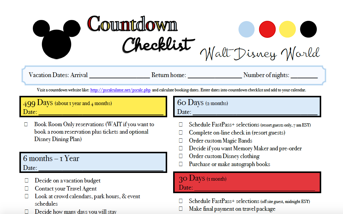 Pre-Planning Checklist For Walt Disney World