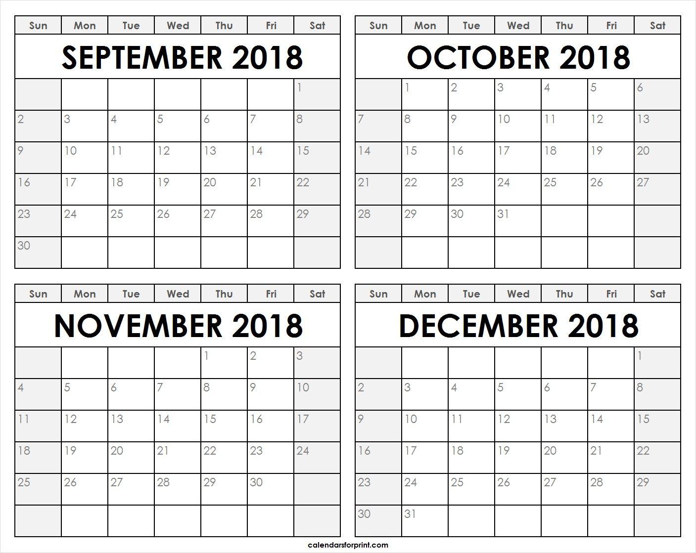 Print Blank September October November December 2018