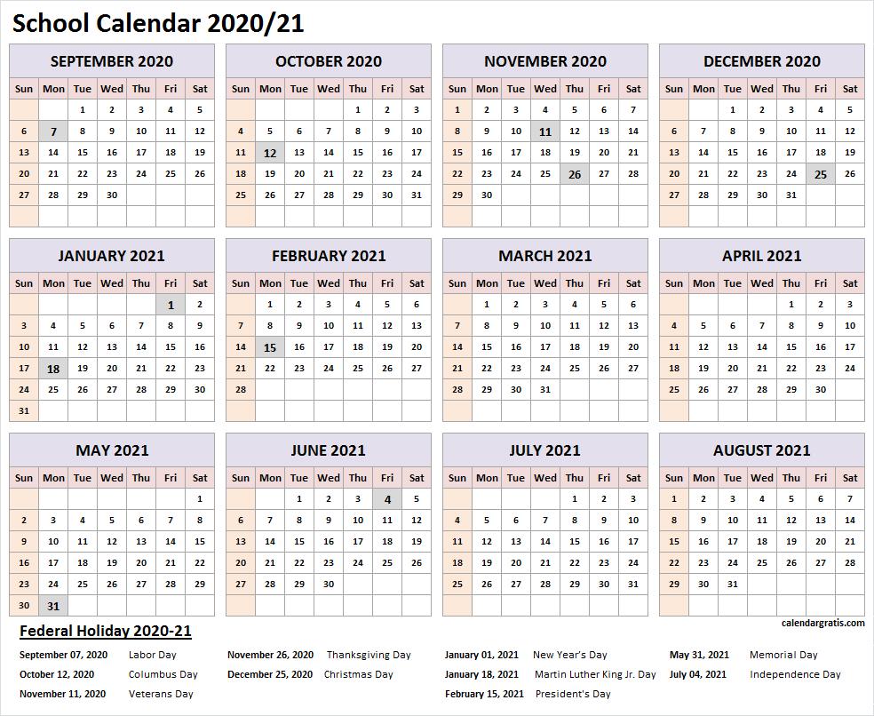 Printable 2020-2021 School Calendar Template (United States