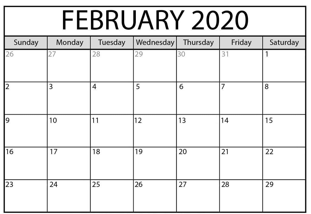 Printable 2020 February Calendar | Free Printable Calendar