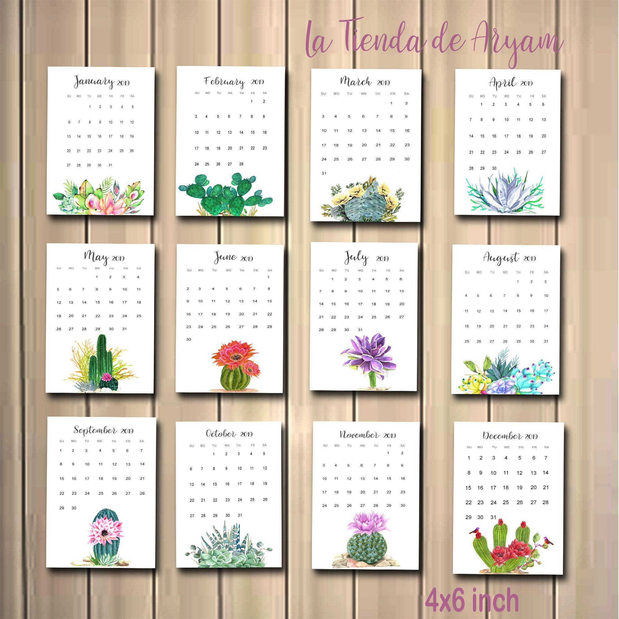 Printable 2021 Calendar Cactus Cactus In Pots Desk Calendar