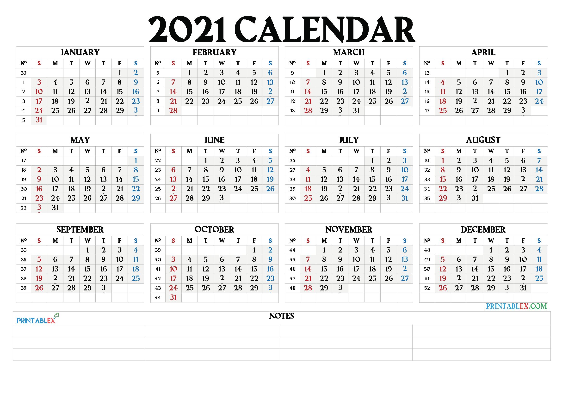 Printable 2021 Calendarmonth
