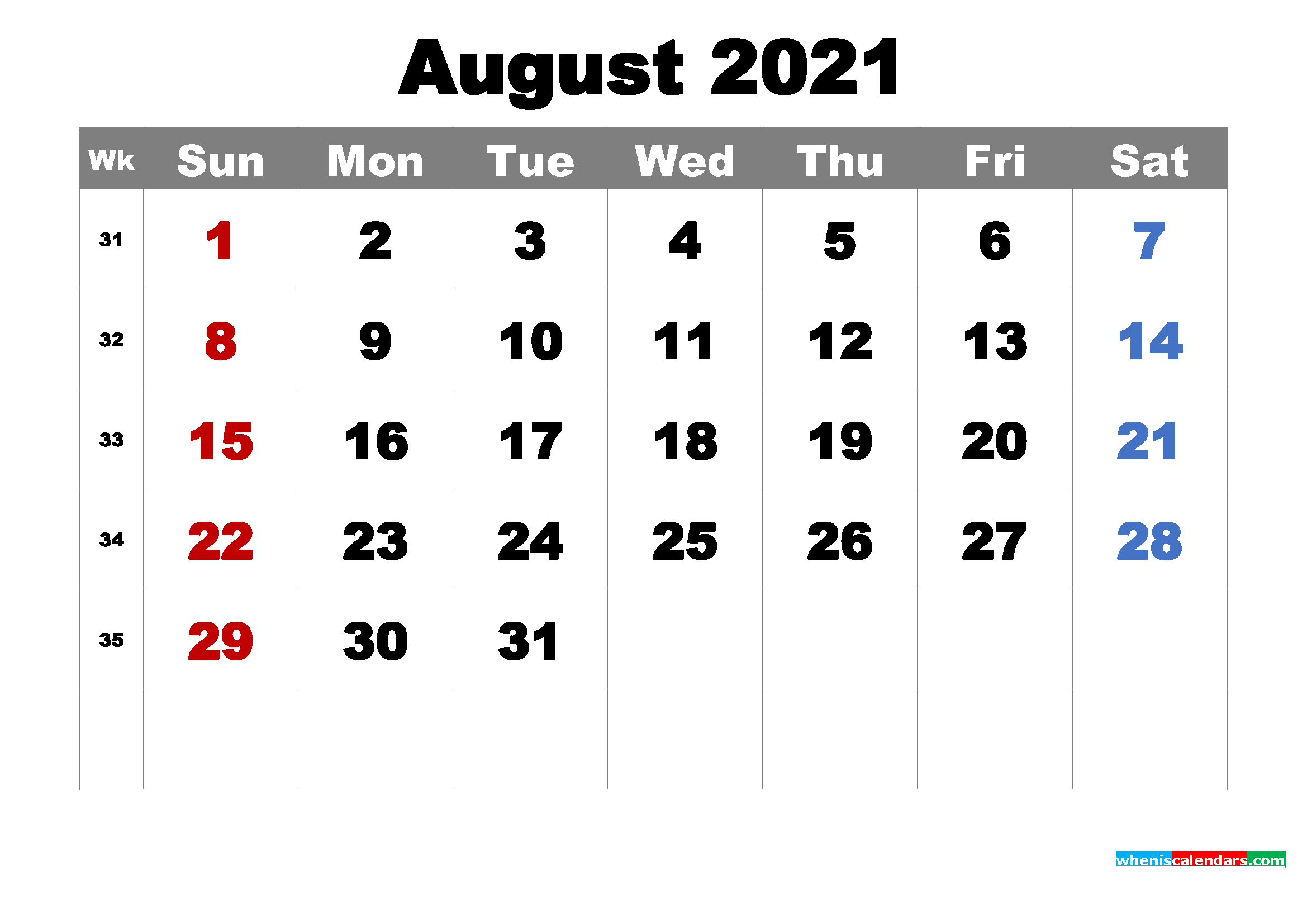 Printable August 2021 Calendarmonth