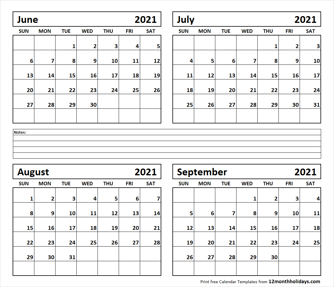 Printable Blank Four Month June July August September 2021