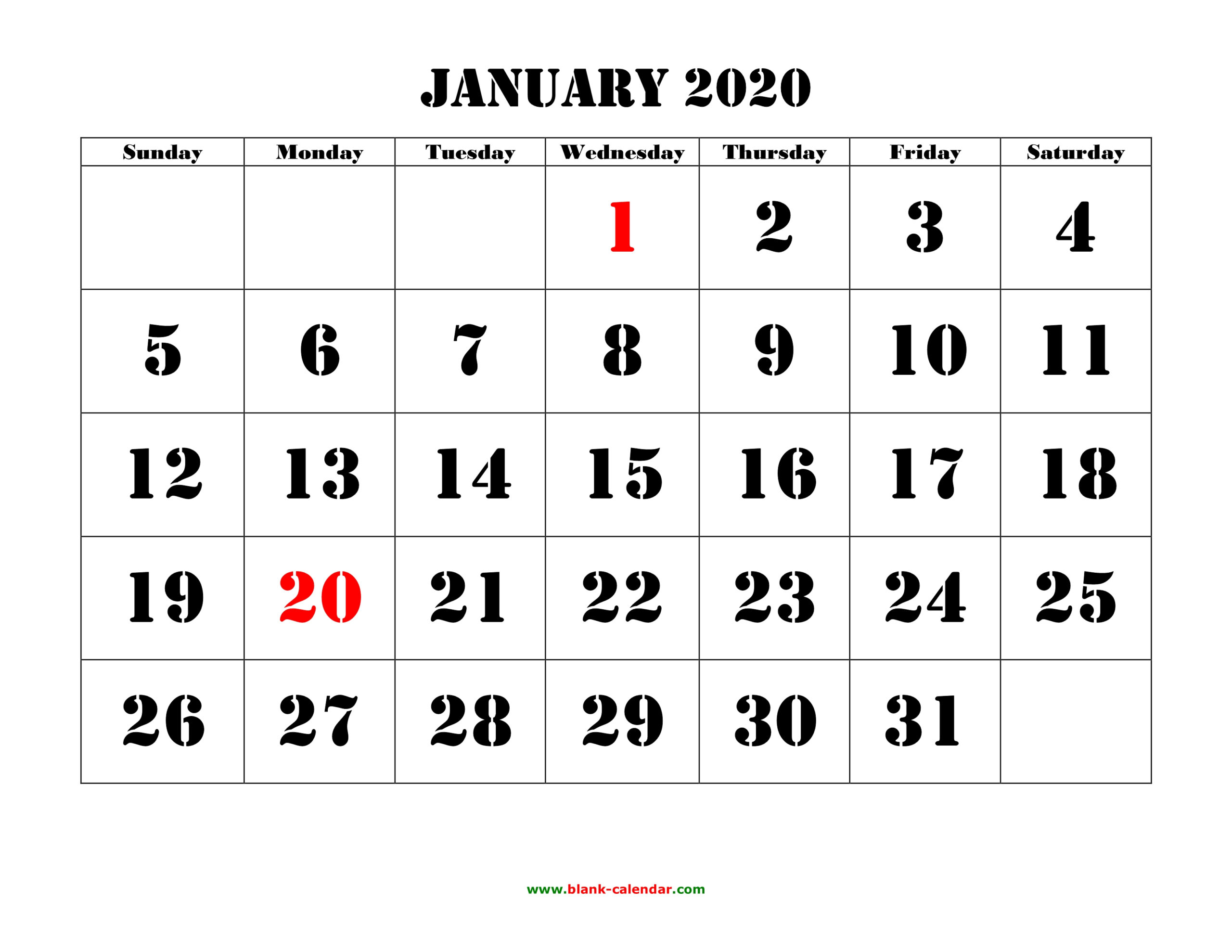 Printable Calendar 2020 | Free Download Yearly Calendar