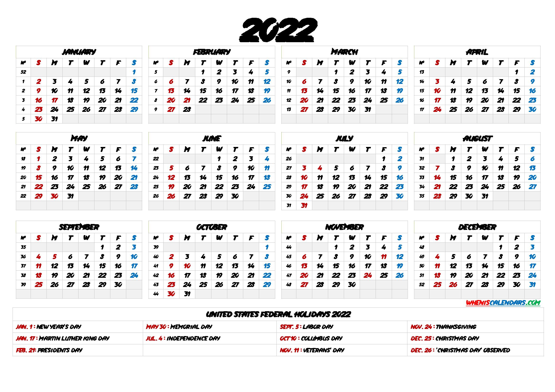 Printable Calendar 2022 With Holidays – 6 Templates