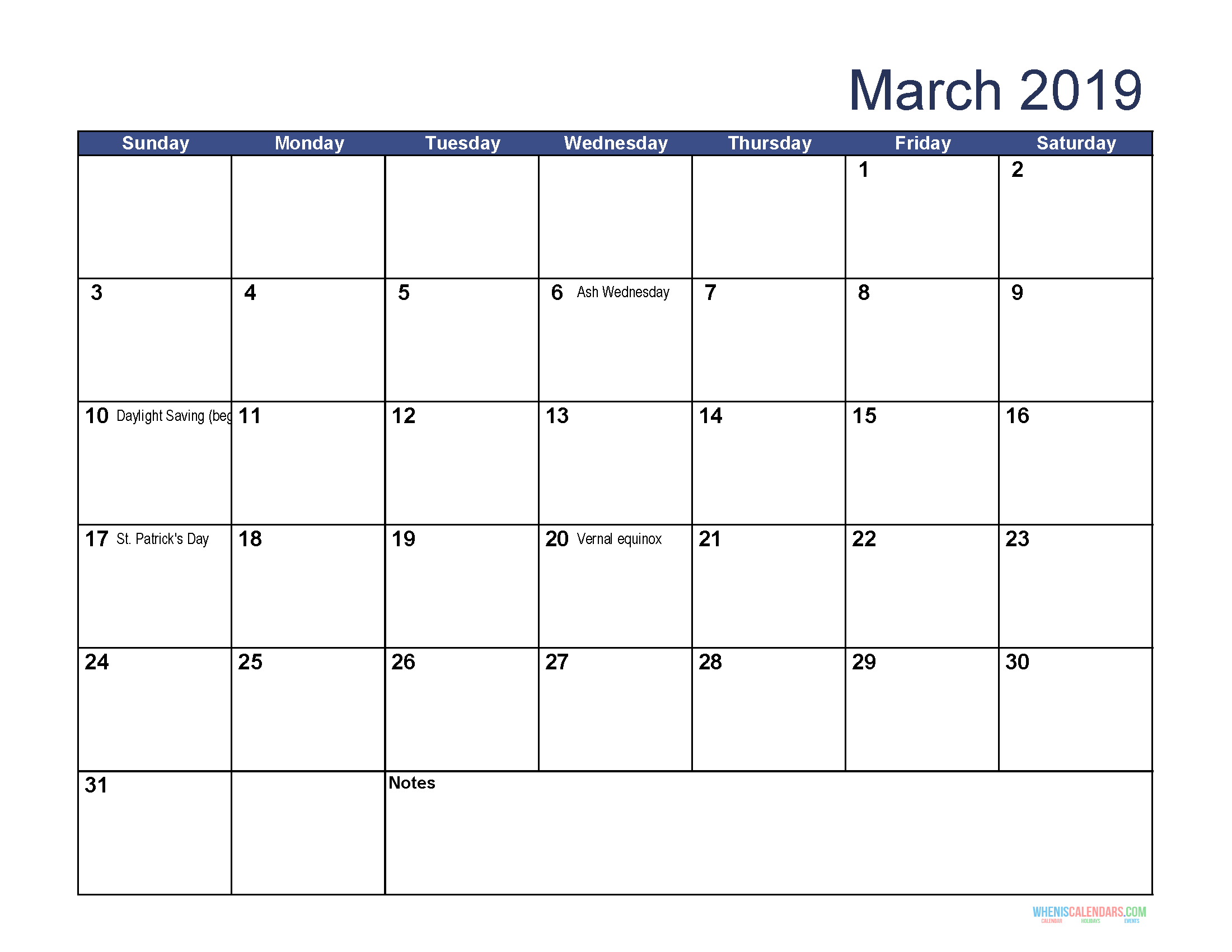 Printable Calendar For March 2019 Word | Calendar Template