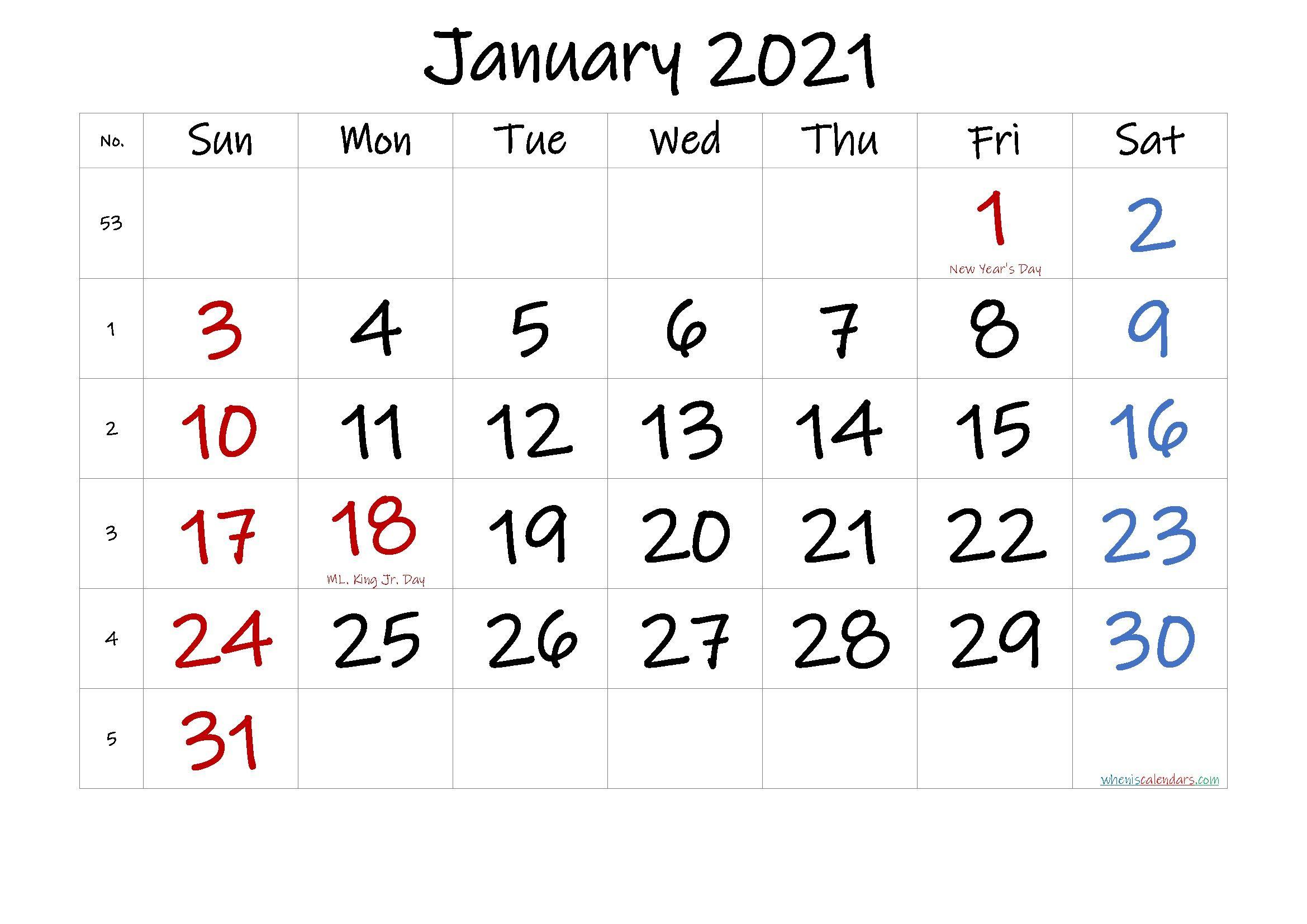 Printable Calendar January 2021   Printable Calendar Design