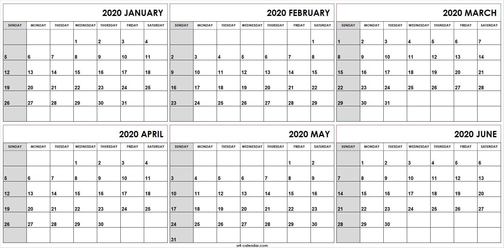 Printable Calendar January To June 2020   Fresh 2020 Calendar