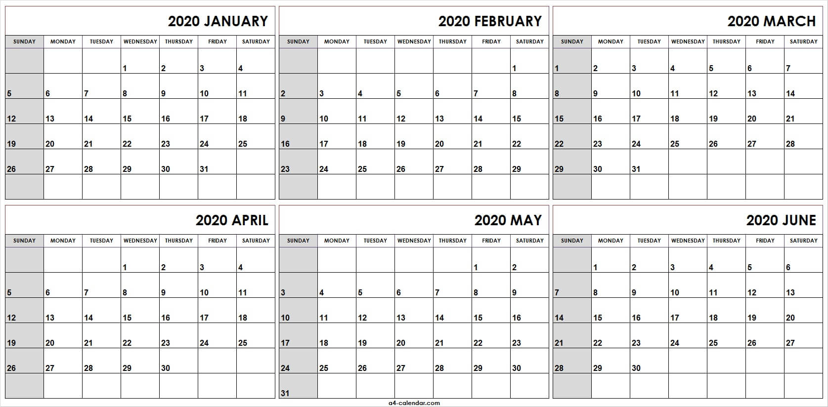 Printable Calendar January To June 2020 | Fresh 2020 Calendar
