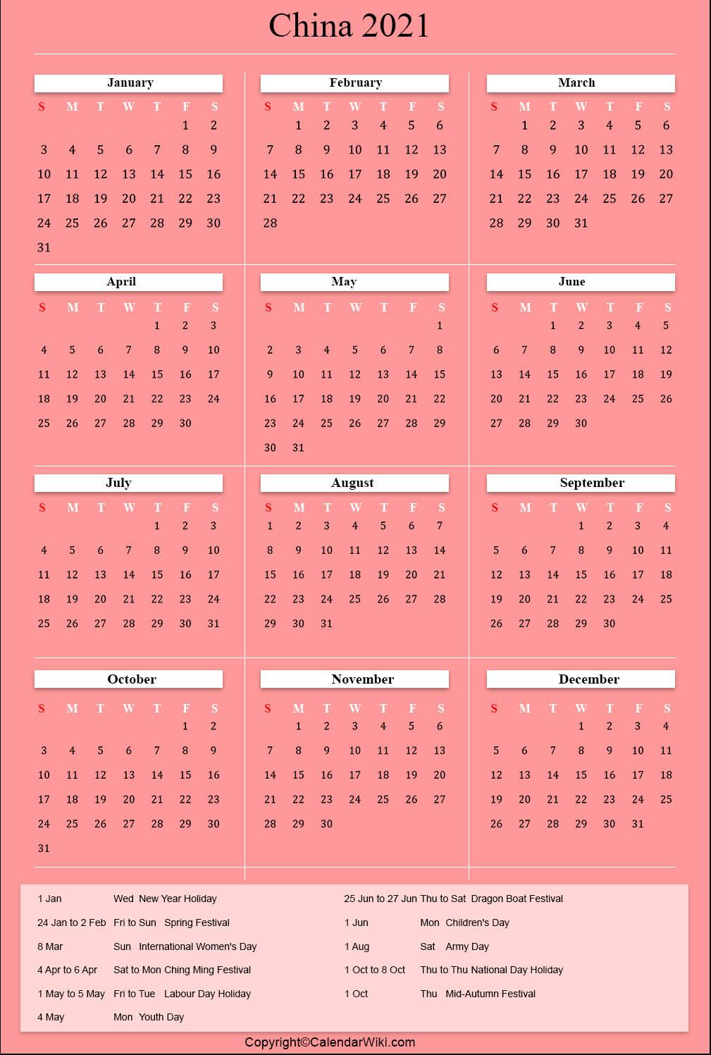 Printable China Calendar 2021 With Holidays [Public Holidays]