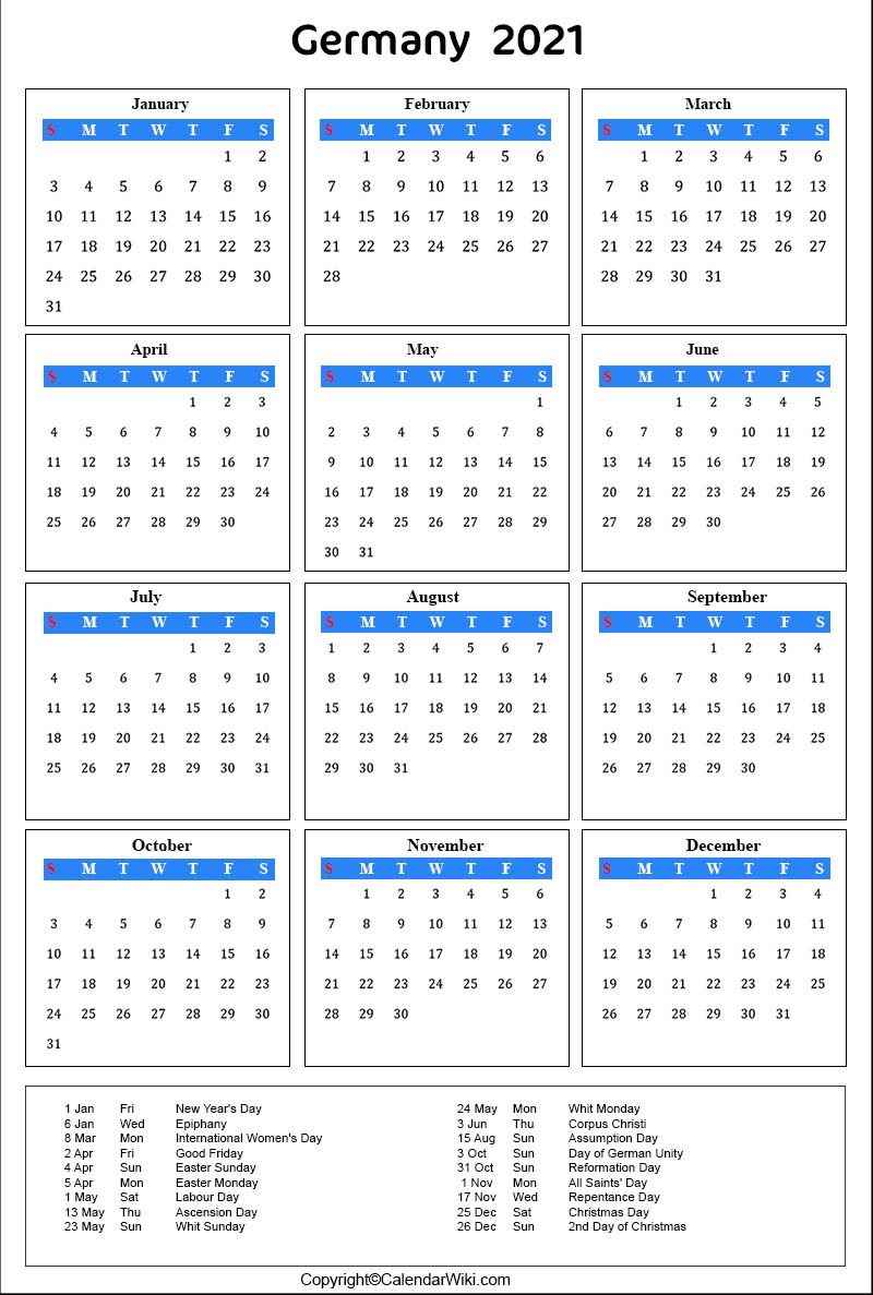 Printable Germany Calendar 2021 With Holidays [Public Holidays]