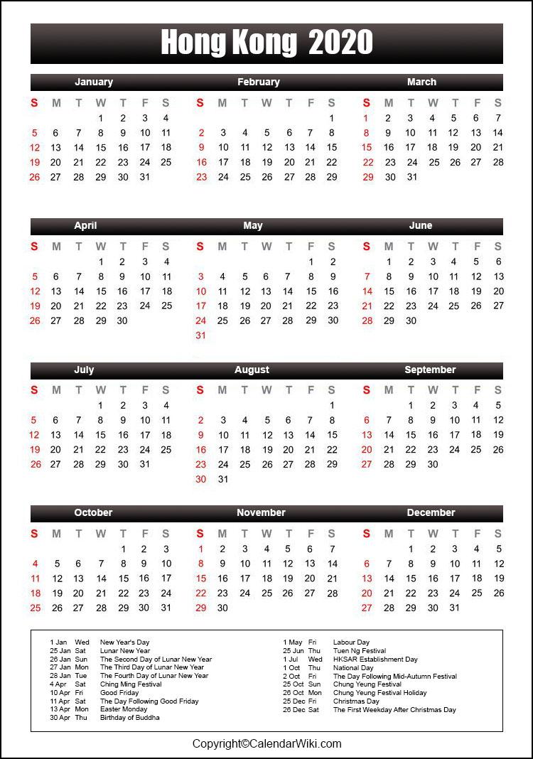 Printable Hongkong Calendar 2020 With Holidays [Public Holidays]