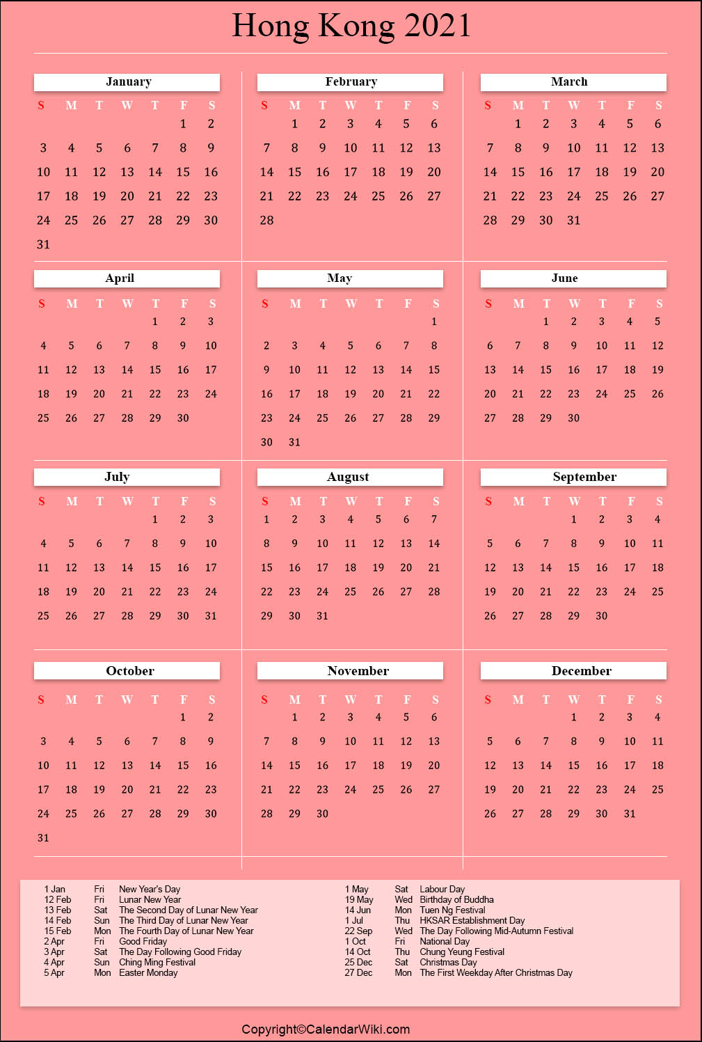 Printable Hongkong Calendar 2021 With Holidays [Public Holidays]