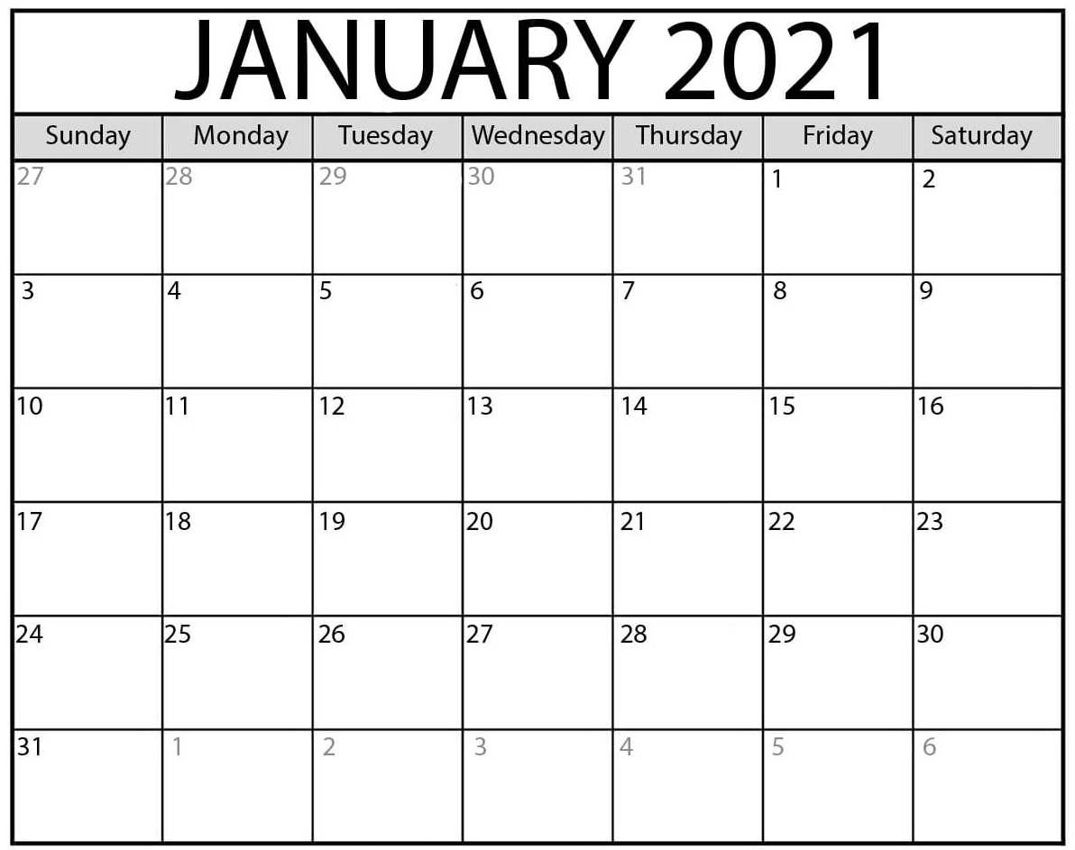 Printable January 2021 Calendar Canada Holidays Sheet