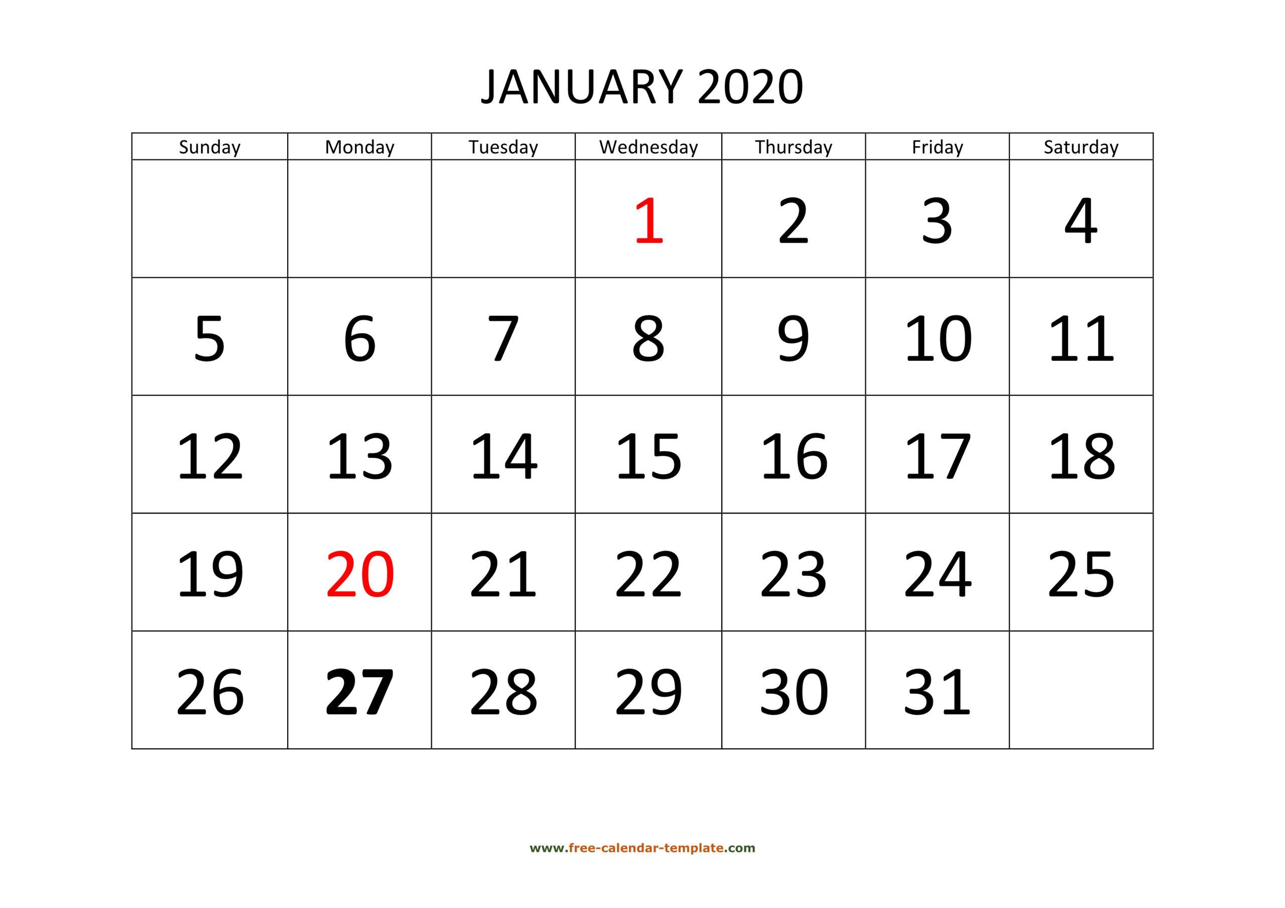 Printable Monthly Calendar 2020 | Free-Calendar-Template
