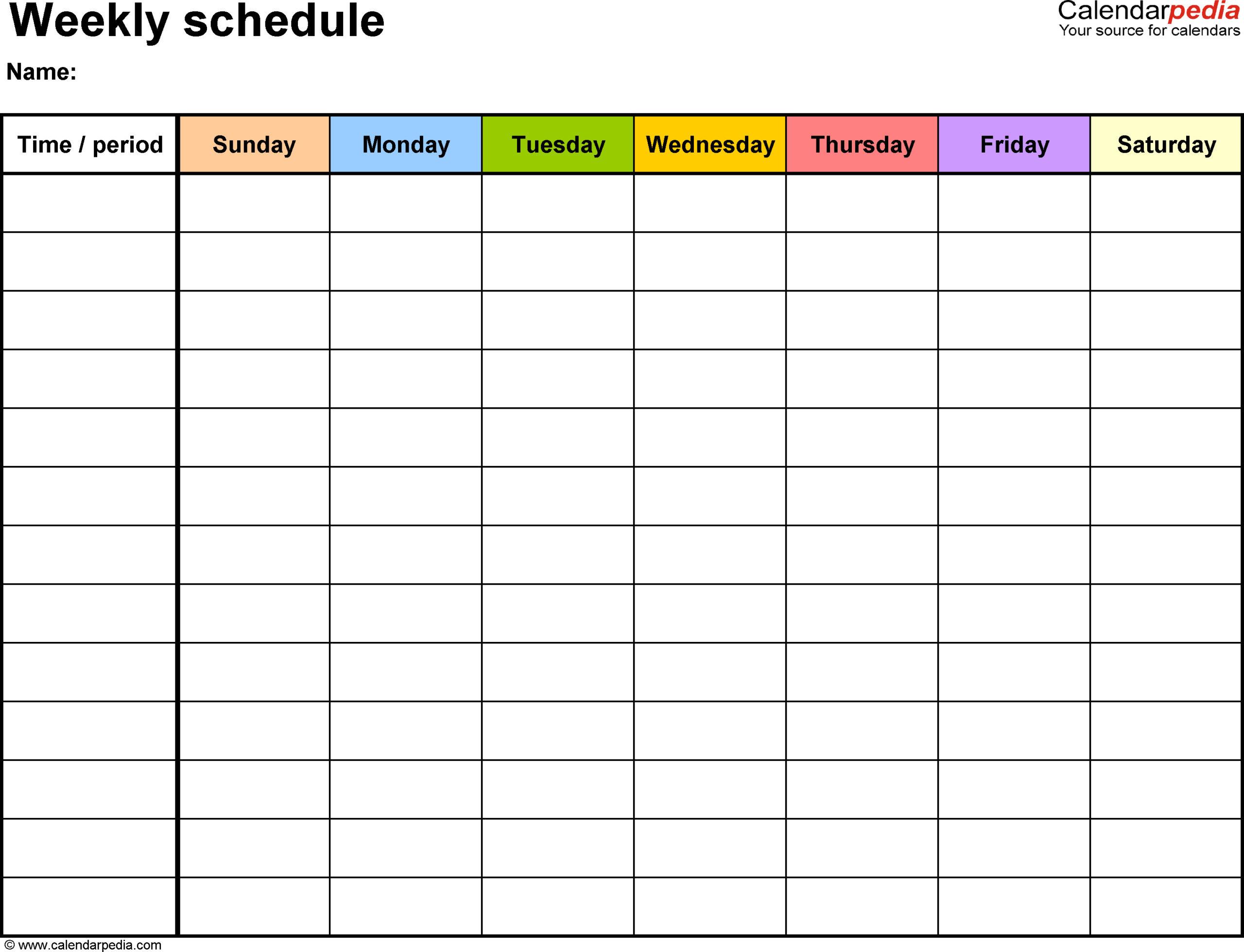 Printable Schedule Template | Room Surf