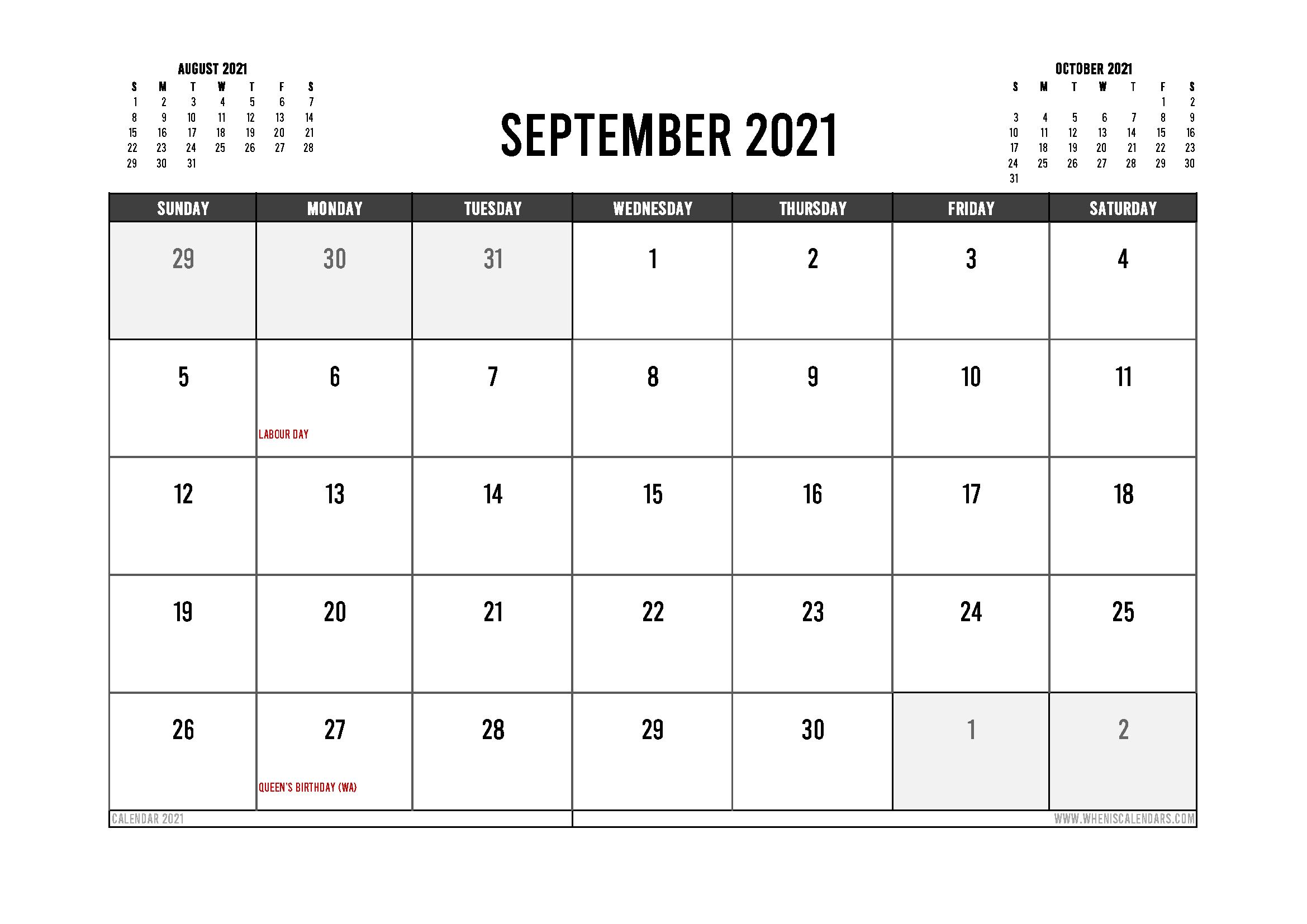 Printable September 2021 Calendar Canada 12 Templates