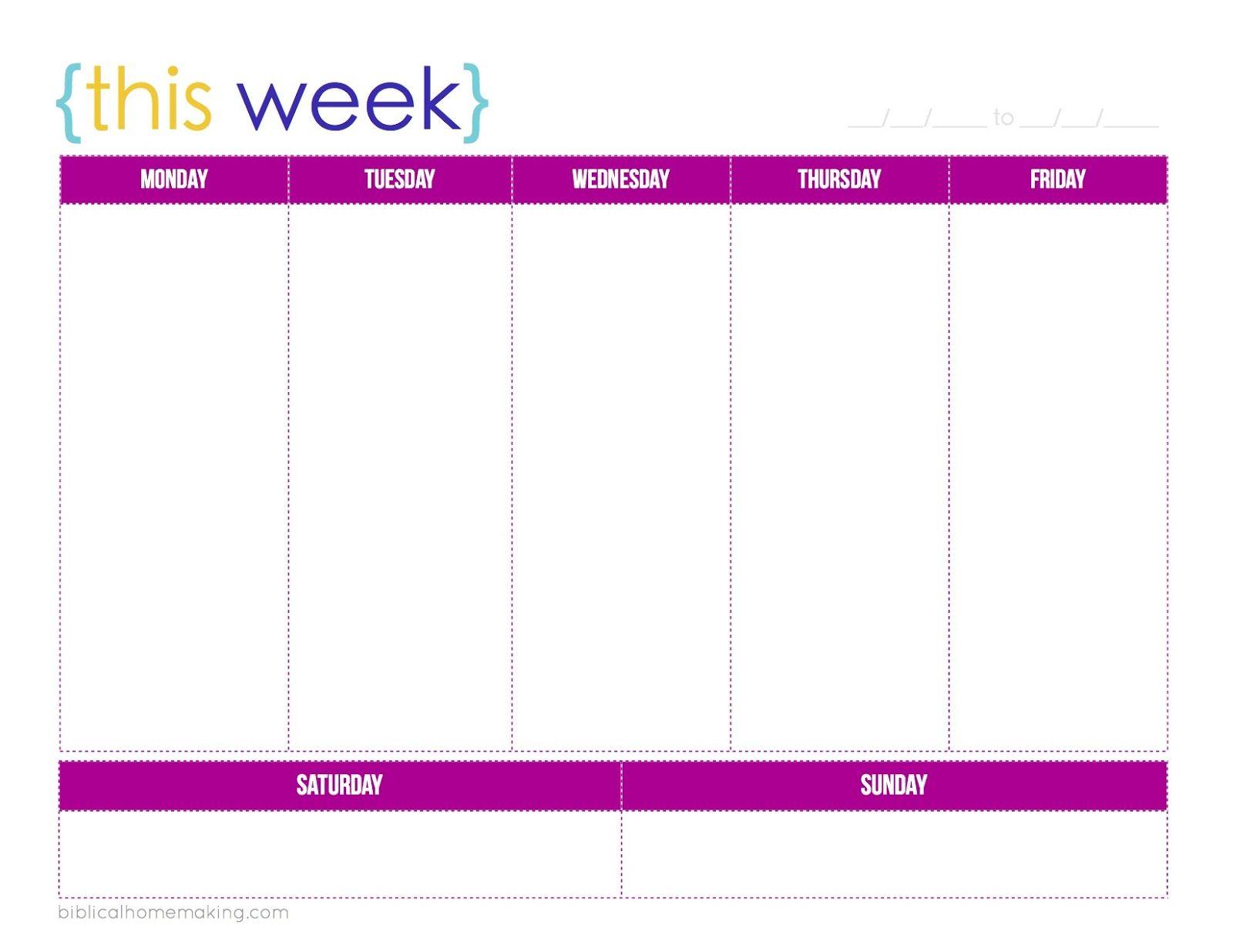 Printable+Weekly+Planner+Calendars | Weekly Calendar