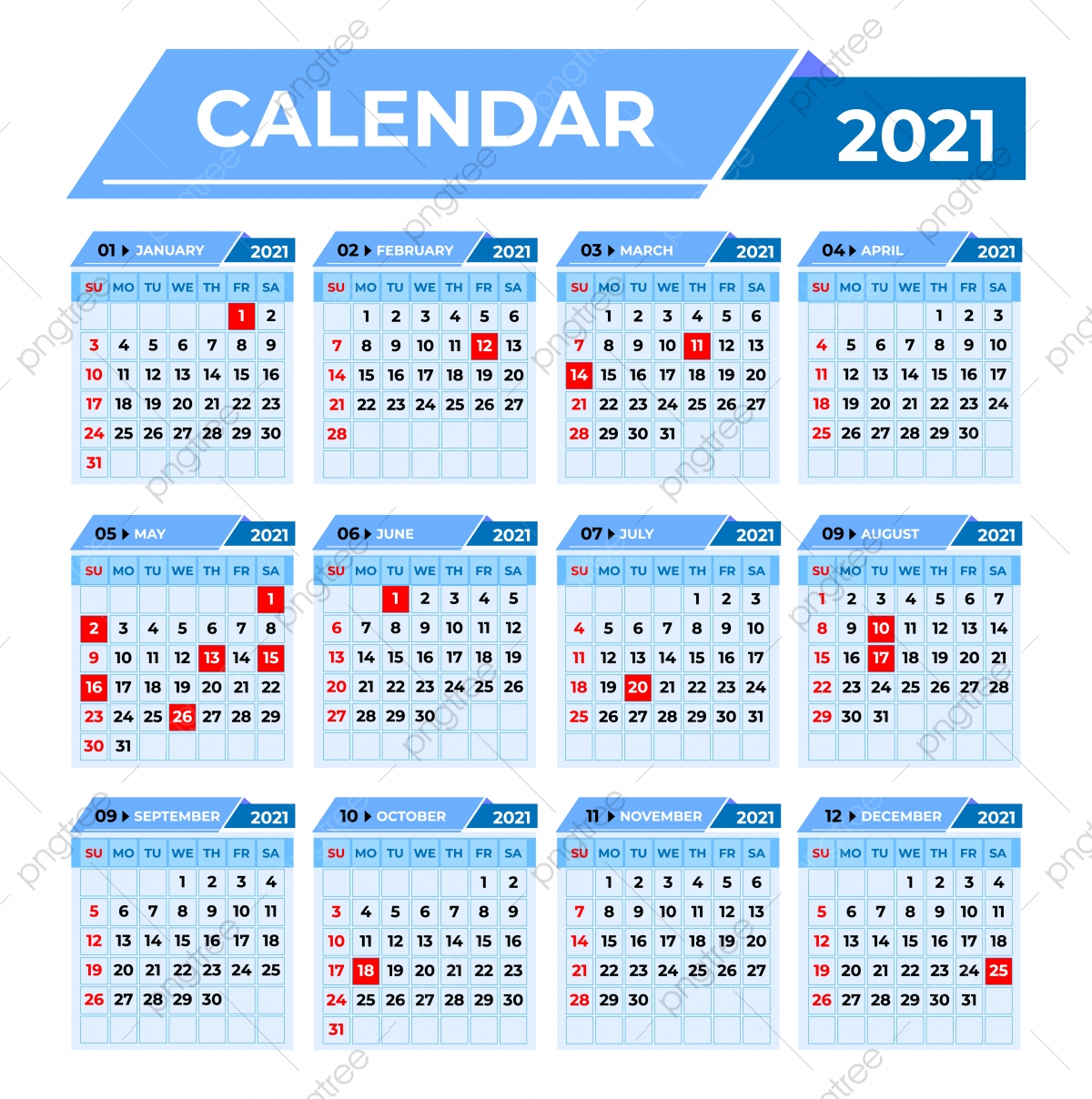 Professional Business Calendar 2021 Template Template