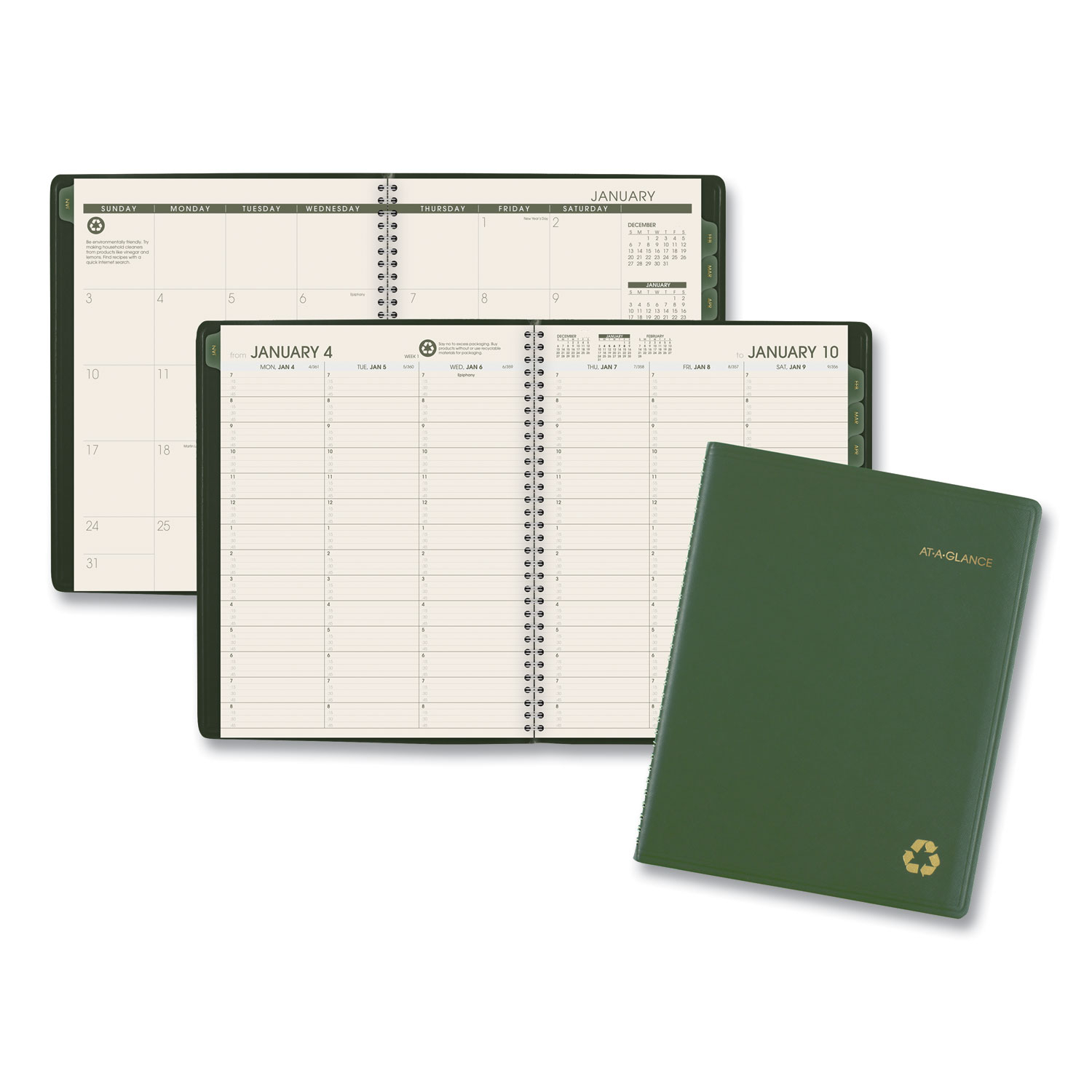 Recycled Weekly/Monthly Classic Appointment Book, 11 X 8.25, Green, 2021
