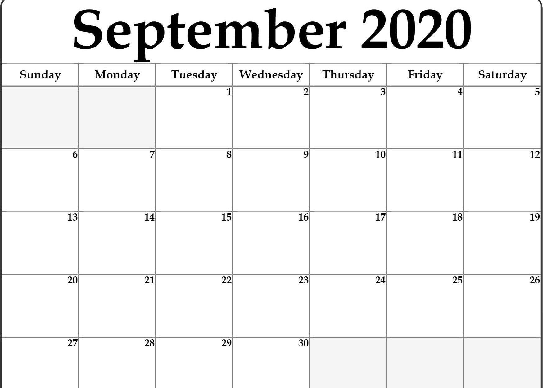 September 2020 Calendar Printable | Calendar Printables