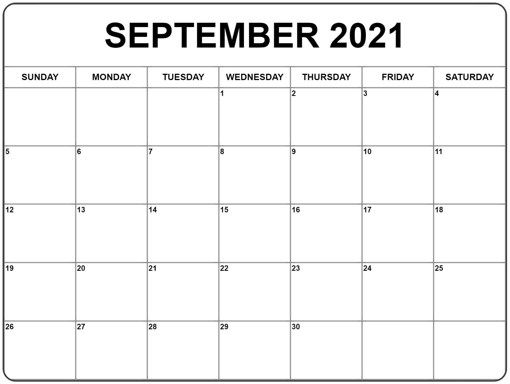 September 2021 Calendar | Blank Monthly Calendar Template