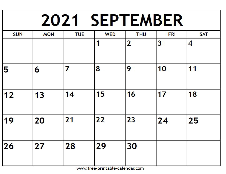 September 2021 Calendar - Free-Printable-Calendar