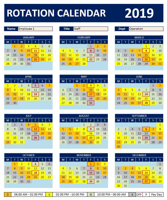 Shift Work Rotation Schedule Calendar » Excelcalendars