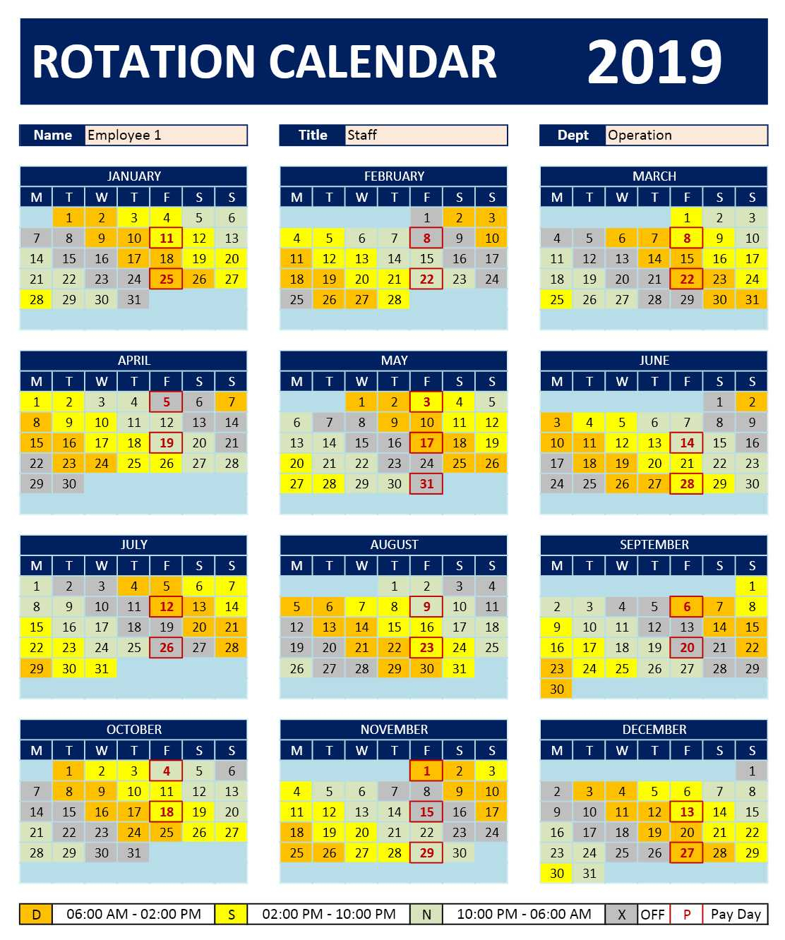 Shift Work Rotation Schedule Calendar » Excelcalendars