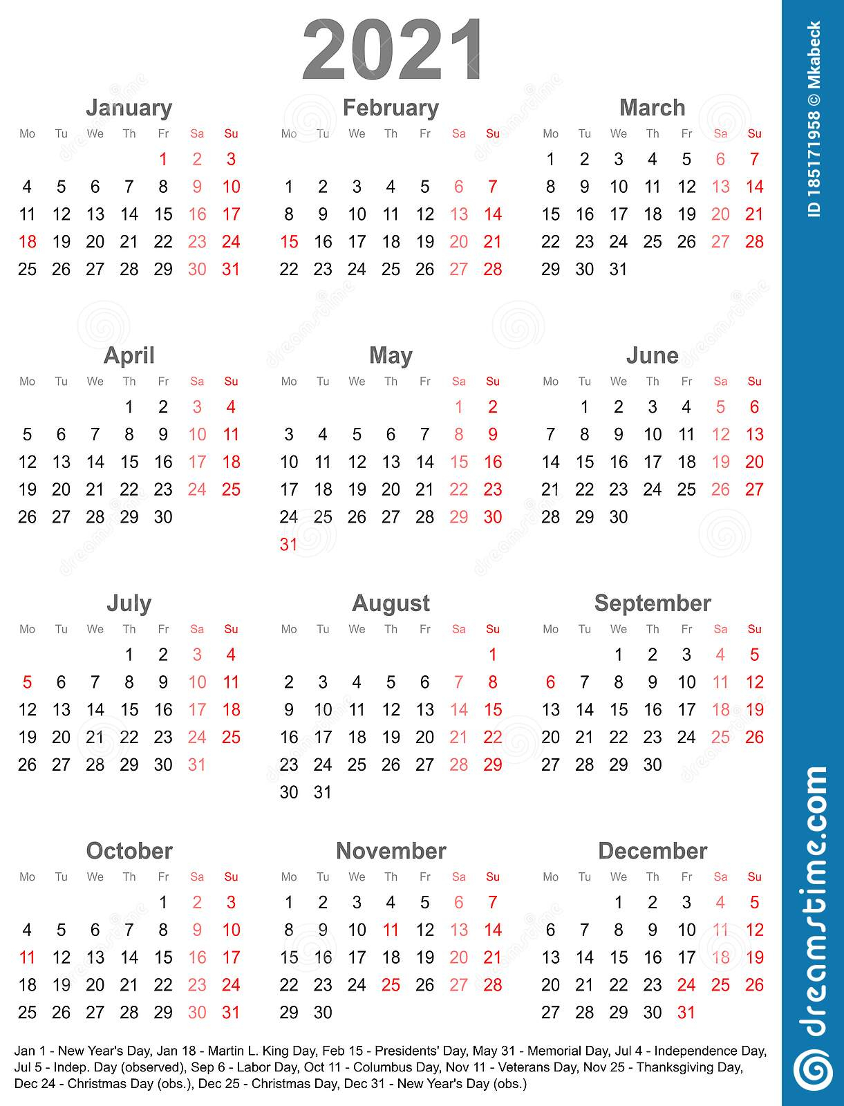 Simple Calendar 2021 With Public Holidays For Usa Stock