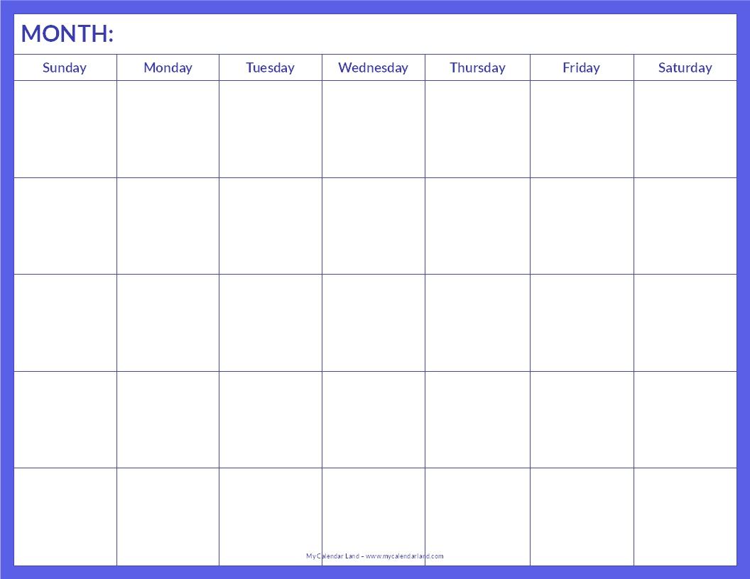 Skatt Utleie: Blank Calendar Pages To Print