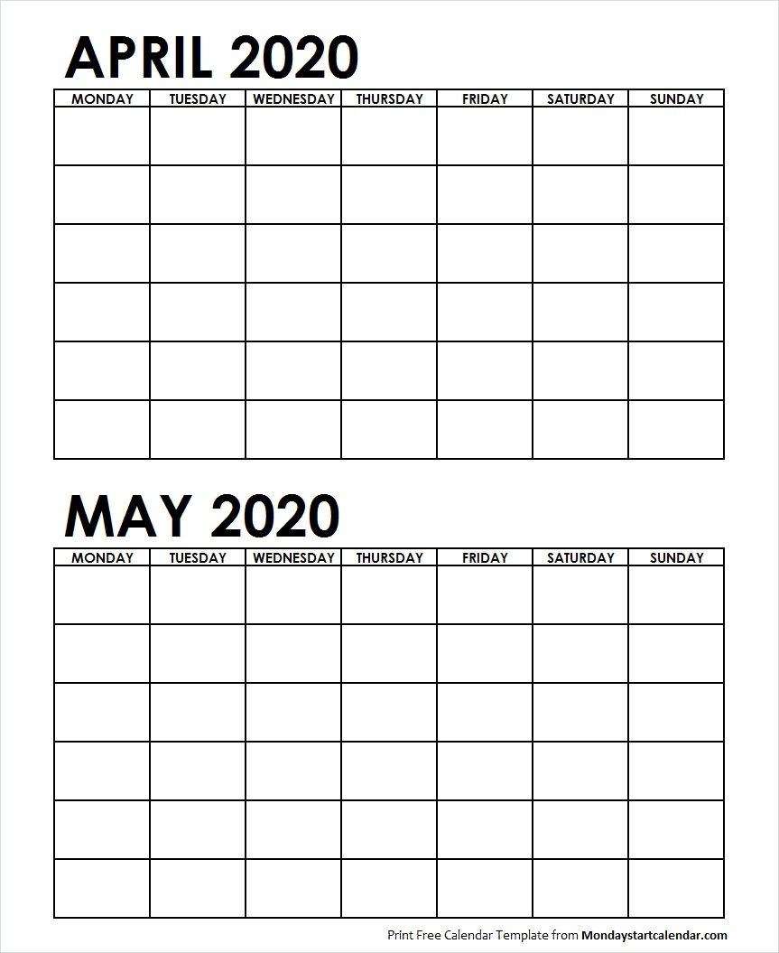 Two Month April May 2020 Calendar Blank | Two Months Template
