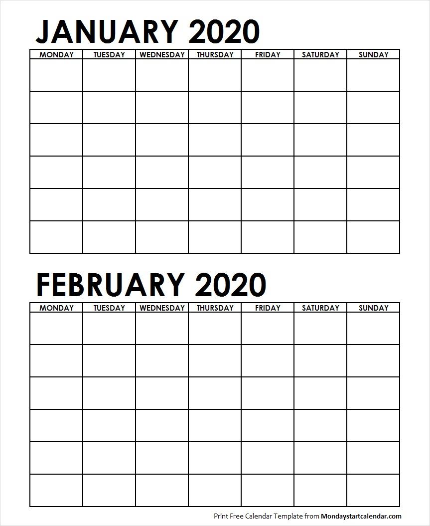 Two Month January February 2020 Calendar Blank