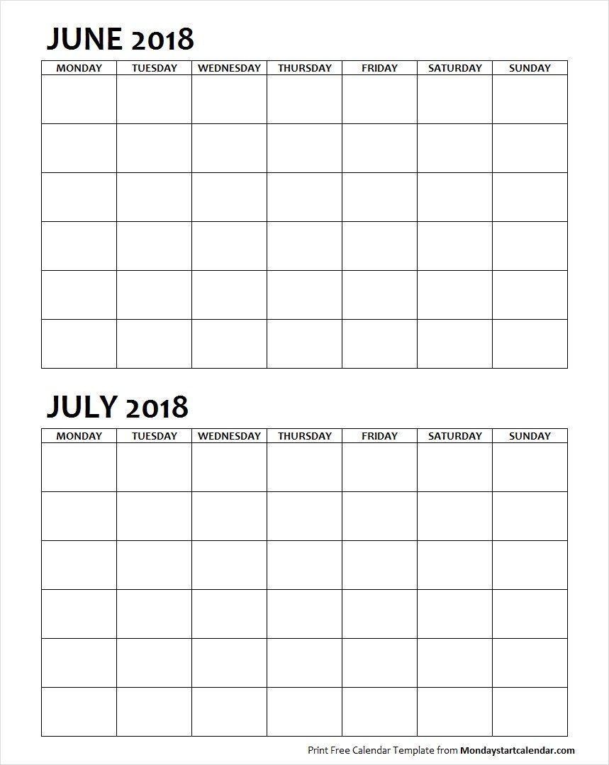 Two Month June July 2018 Calendar Blank | Calendar Template