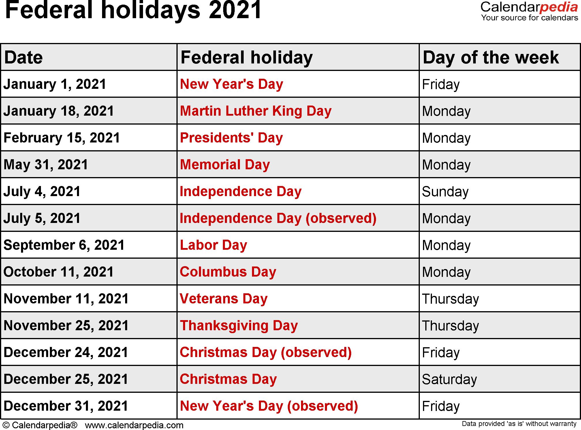Us Federal Holidays 2021