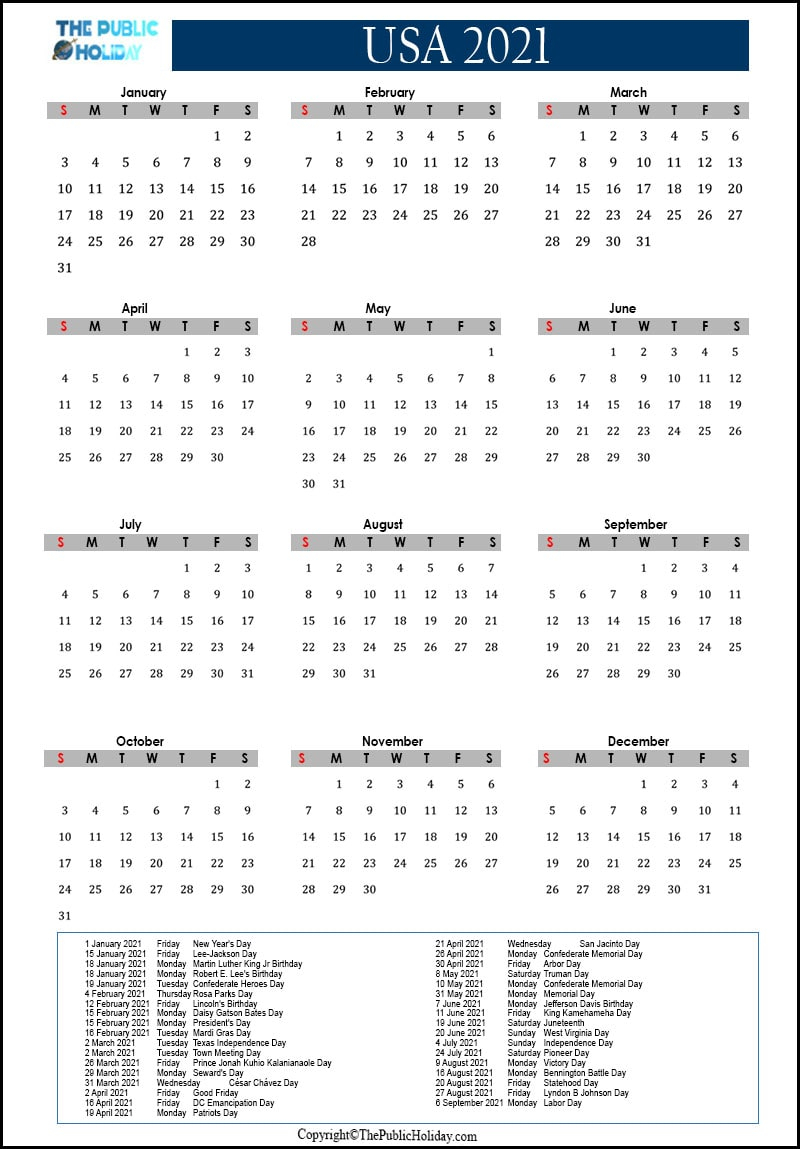 Us Holidays 2021 Calendar [Public, National, Federal, Bank] ✅