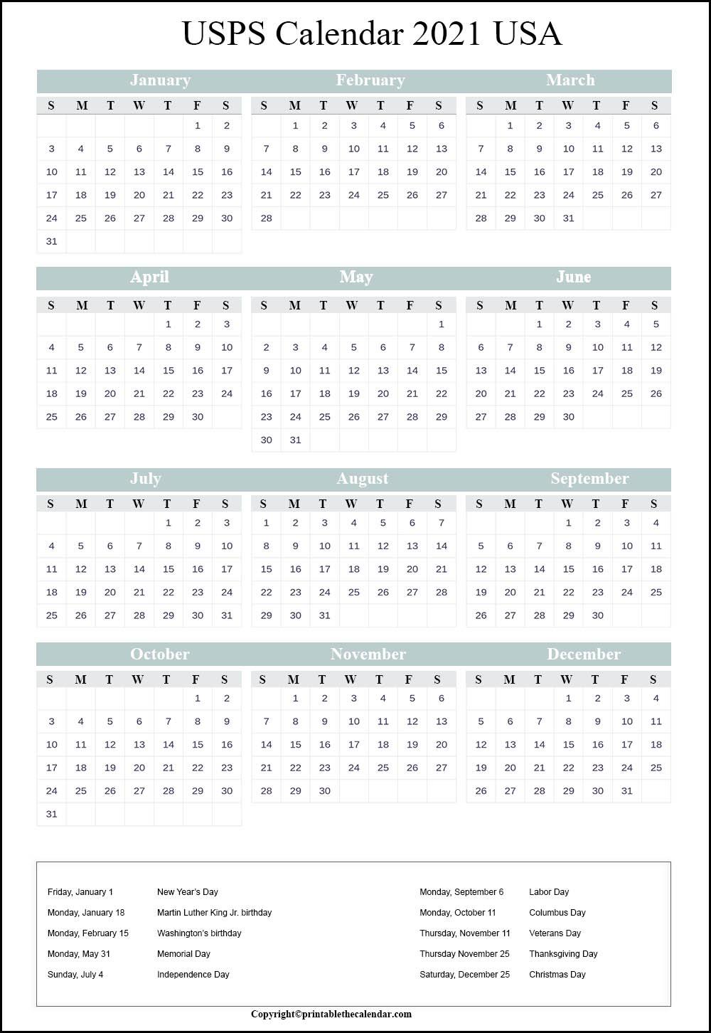 Usps Holiday Schedule 2021 | Usps Calendar 2021 | Printable