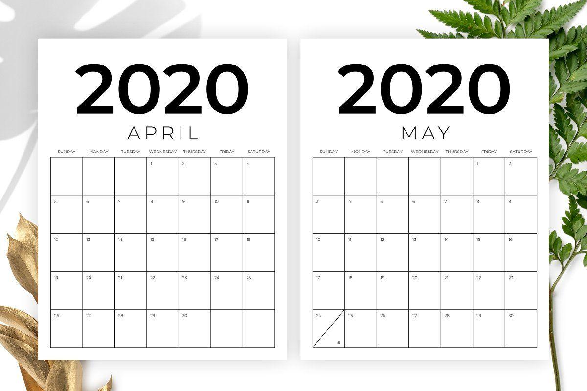 Vertical 8.5 X 11 Inch 2020 Calendar   Calendar Template
