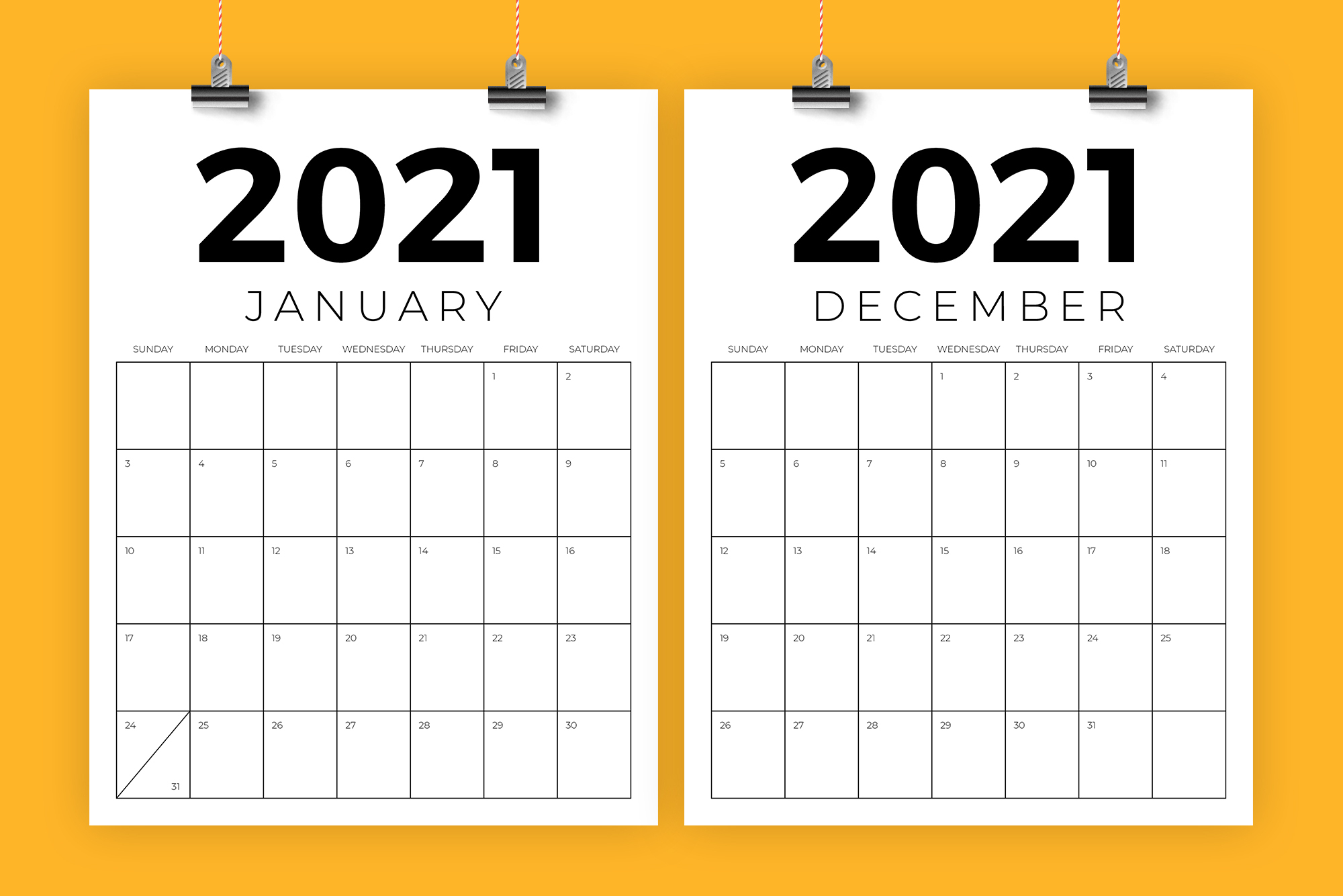 Vertical 8.5 X 11 Inch 2021 Calendar