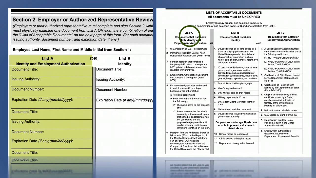 Video Form I 9, Employment Eligibility Verification Section