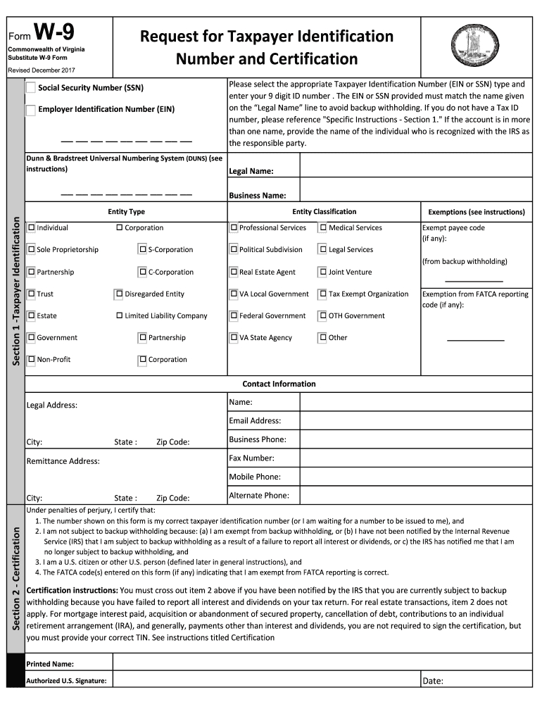 Virginia W9 - Fill Out And Sign Printable Pdf Template | Signnow