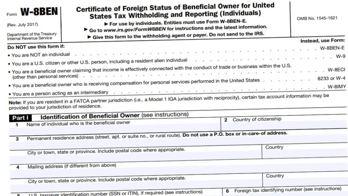 W8Ben 2021 - Irs Forms