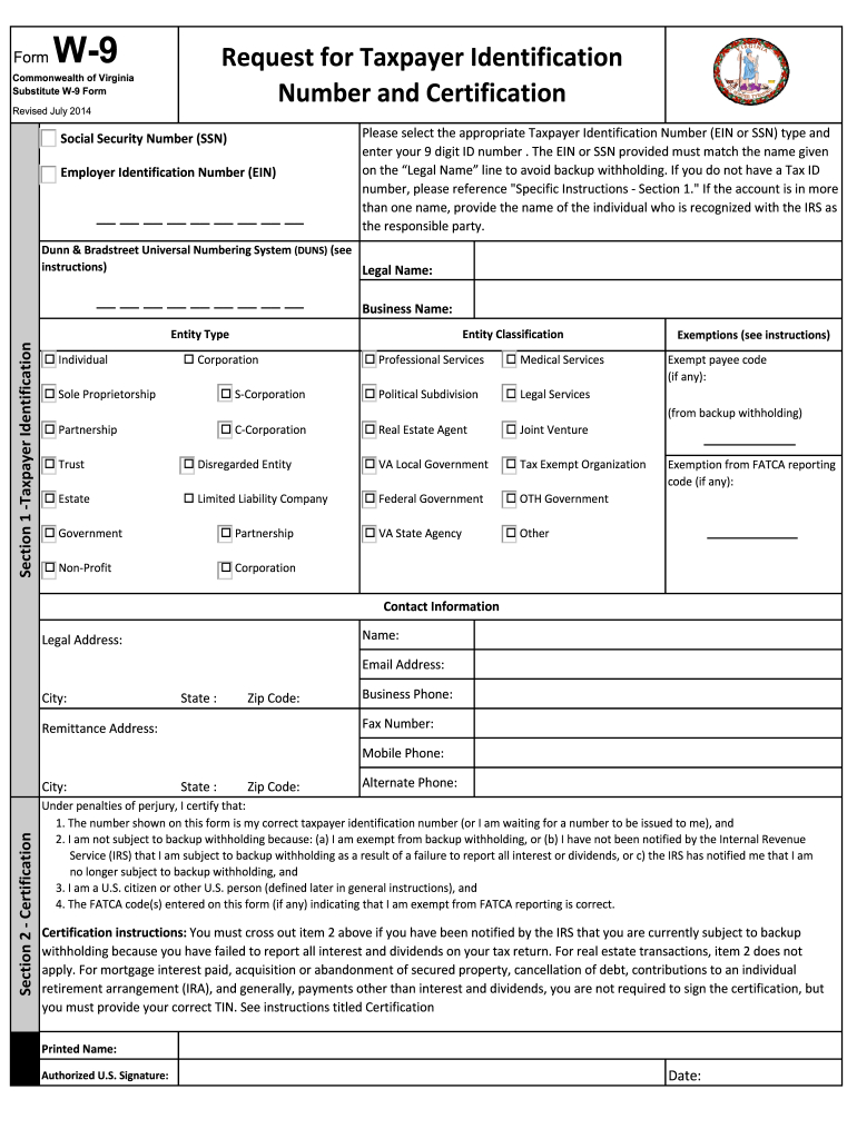 W9 Virginia - Fill Out And Sign Printable Pdf Template | Signnow