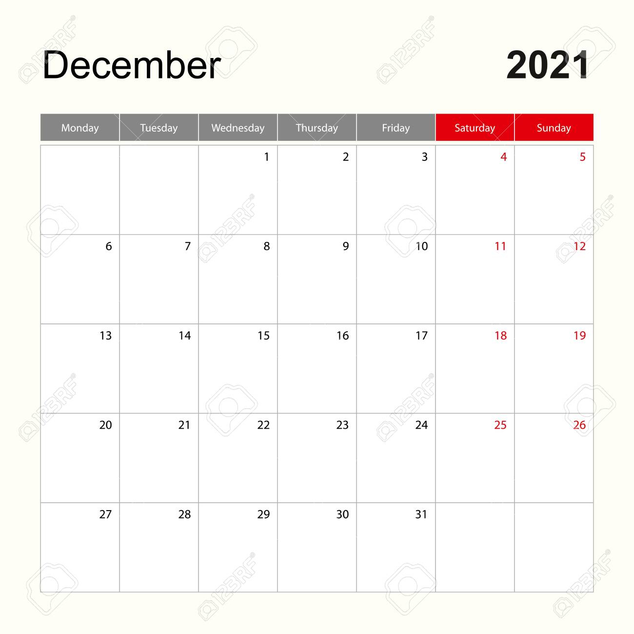 Wall Calendar Template For December 2021. Holiday And Event Planner,..