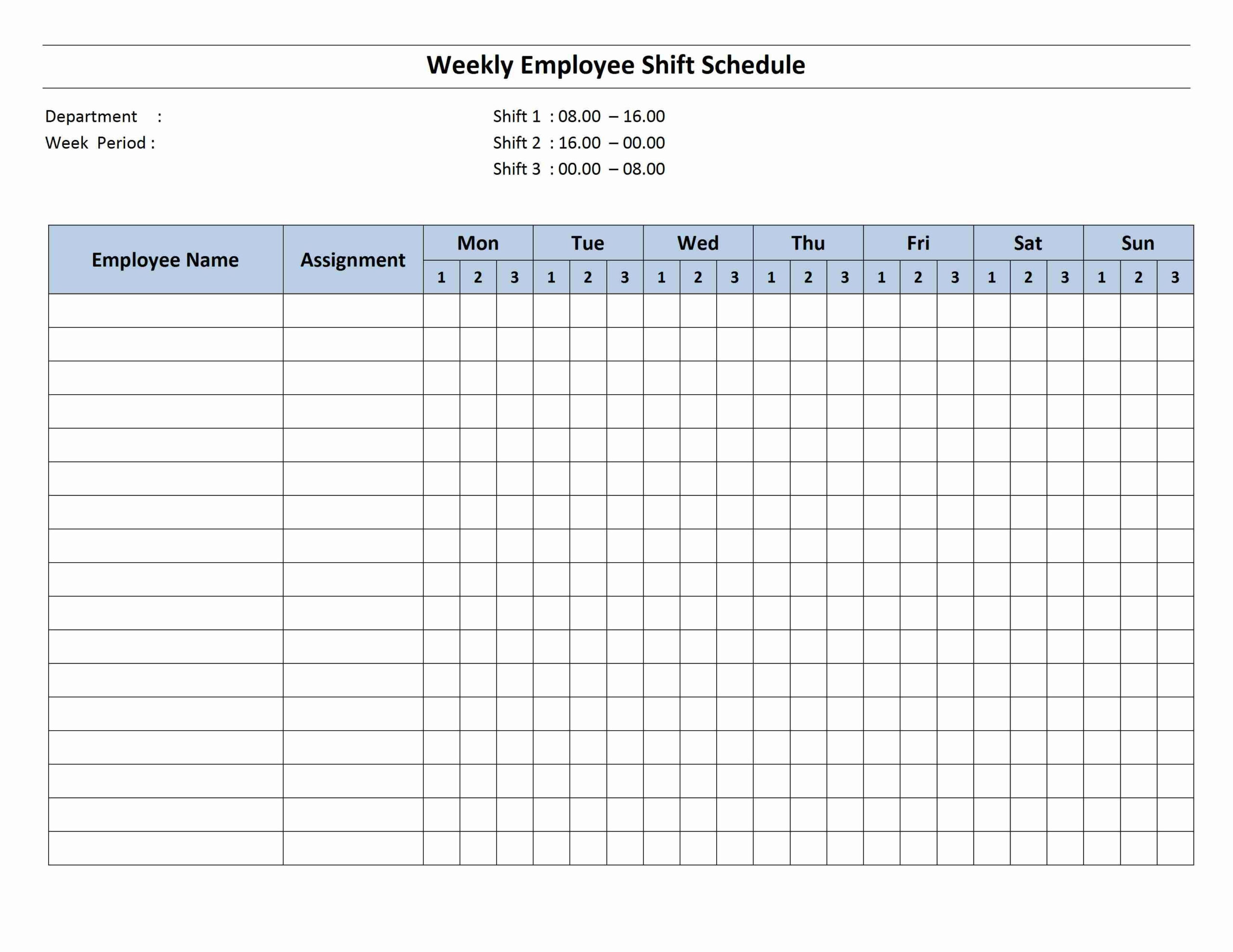 Weekly 8 Hour Shift Schedule   Monthly Schedule Template