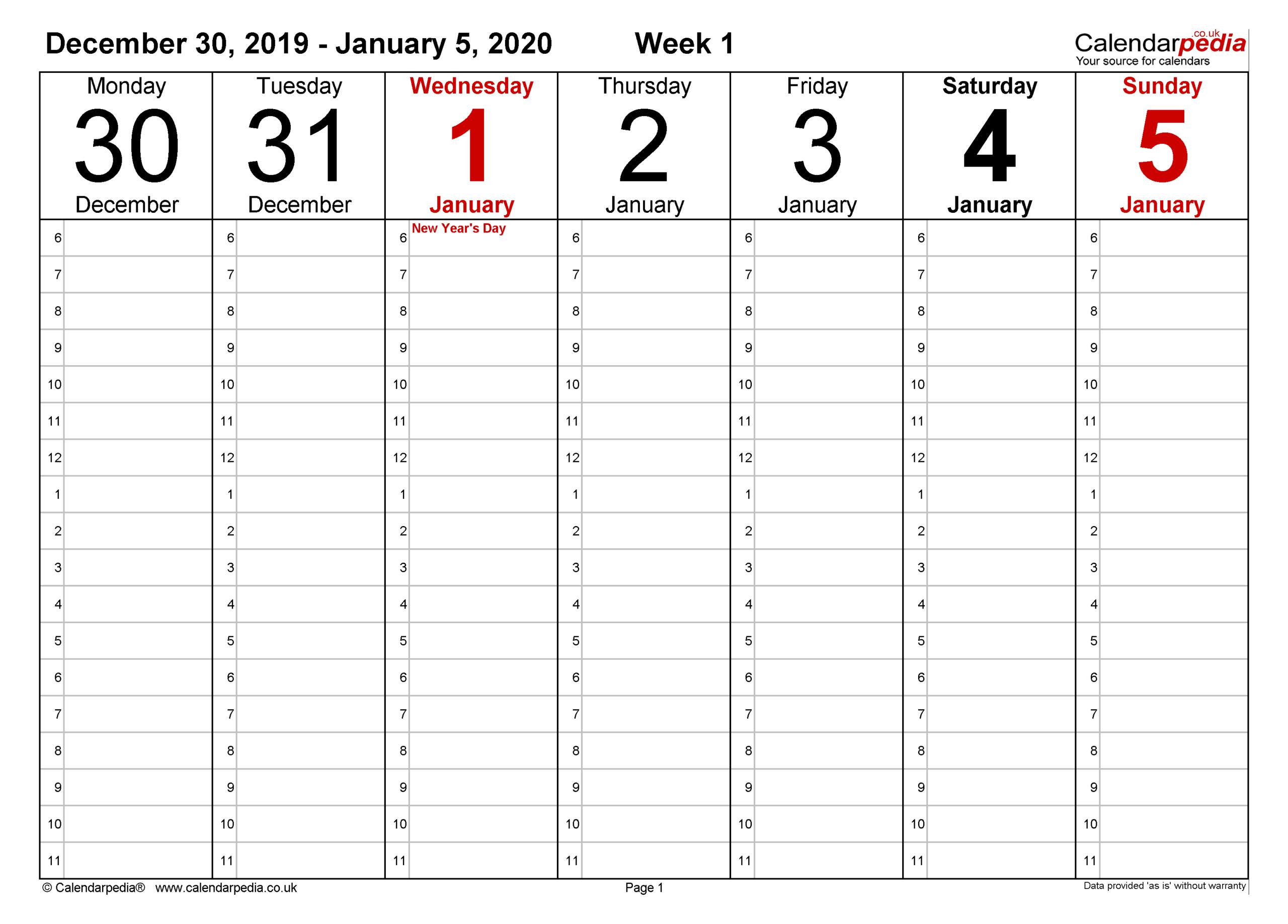 Weekly Calendar 2020 Uk - Free Printable Templates For Pdf