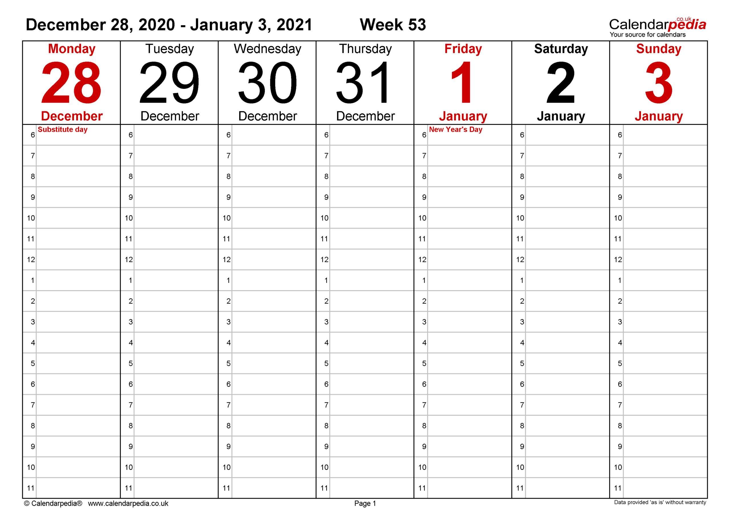 Weekly Calendar 2021 Uk - Free Printable Templates For Excel